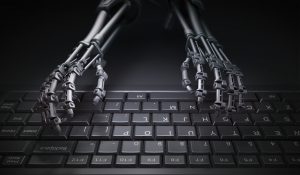 Robot typing on a computer keyboard